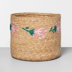 ISO Opalhouse Embroidered Straw Protea Basket